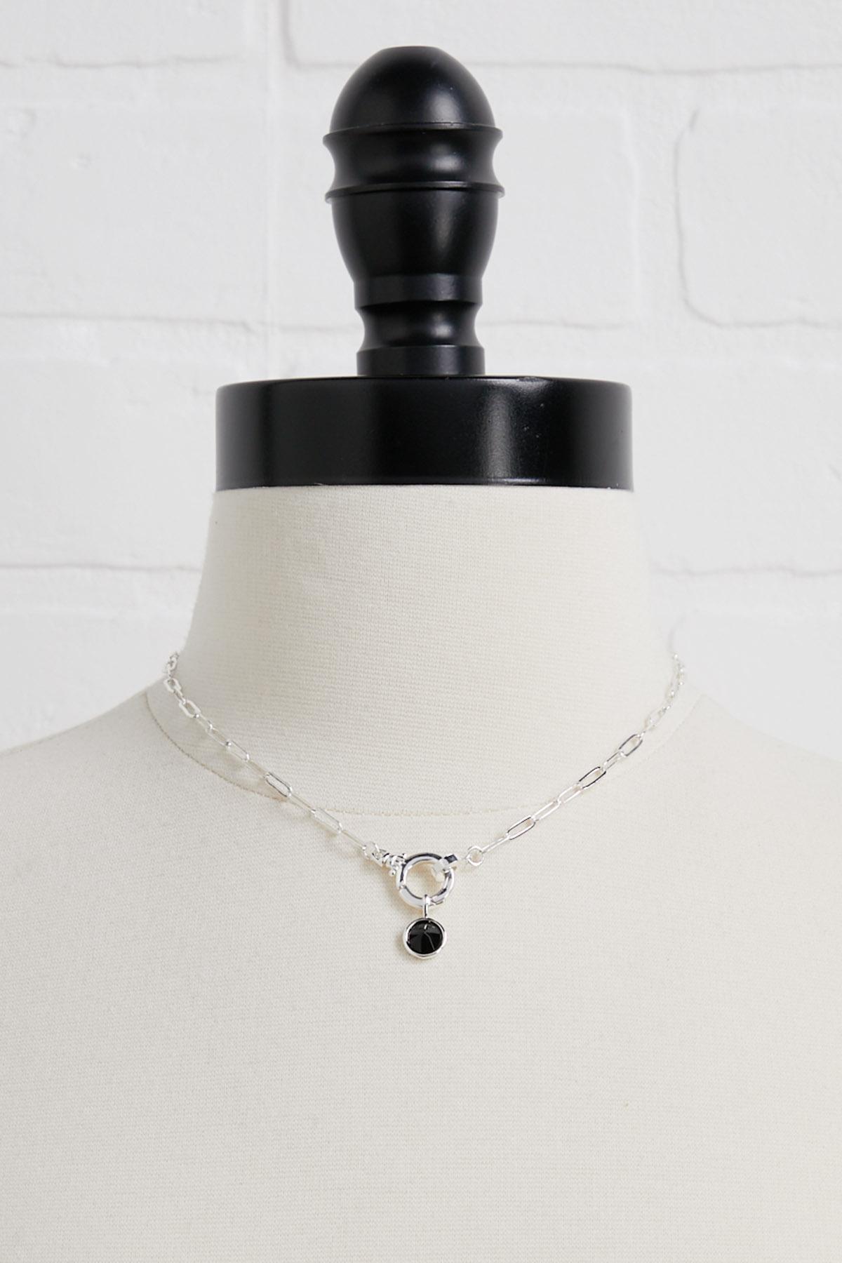 Black Stone Sterling Silver Charm
