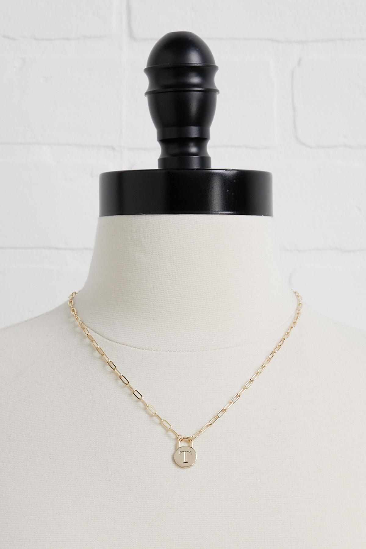 18k T Pendant Necklace