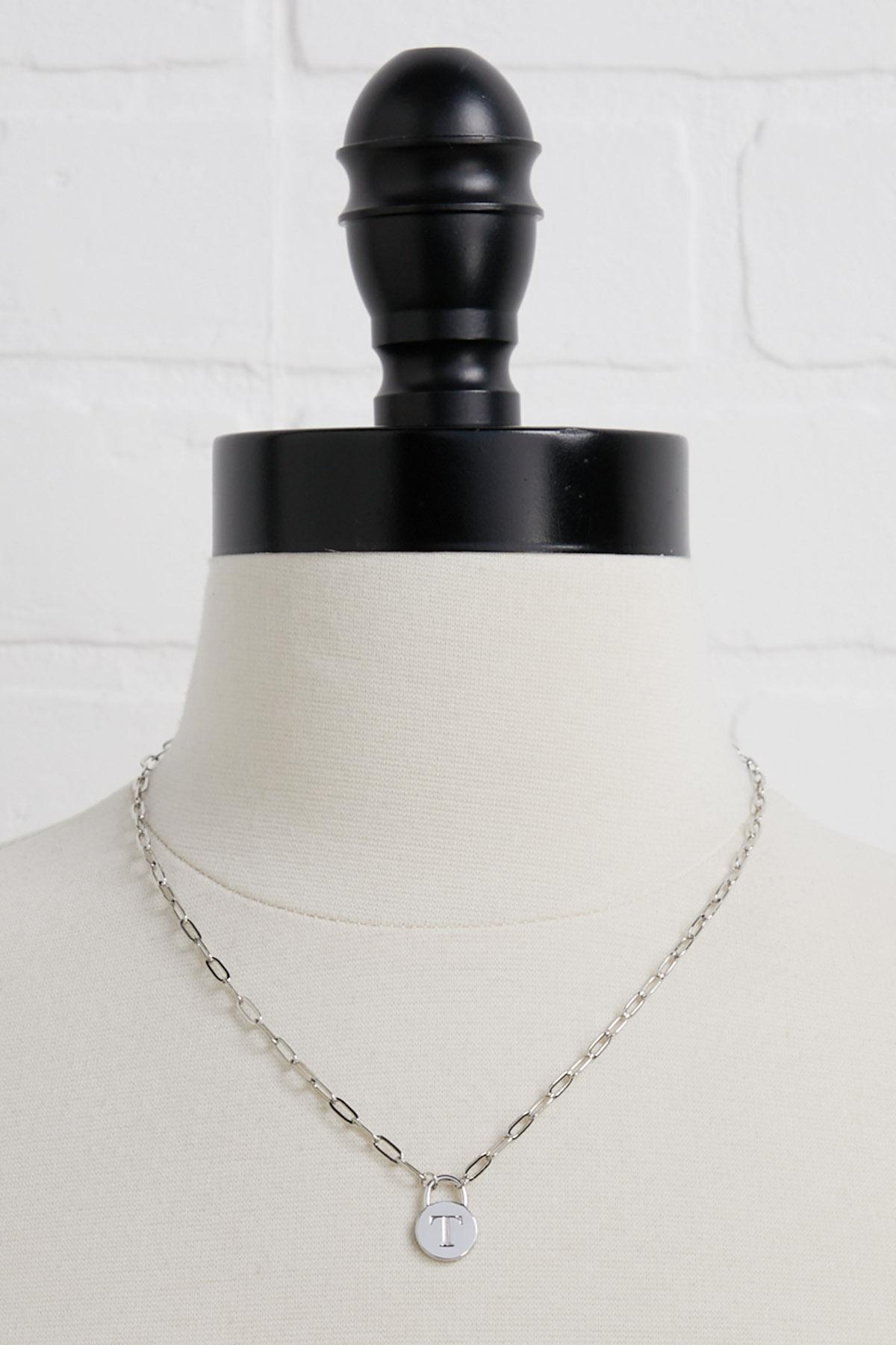 Silver T Necklace