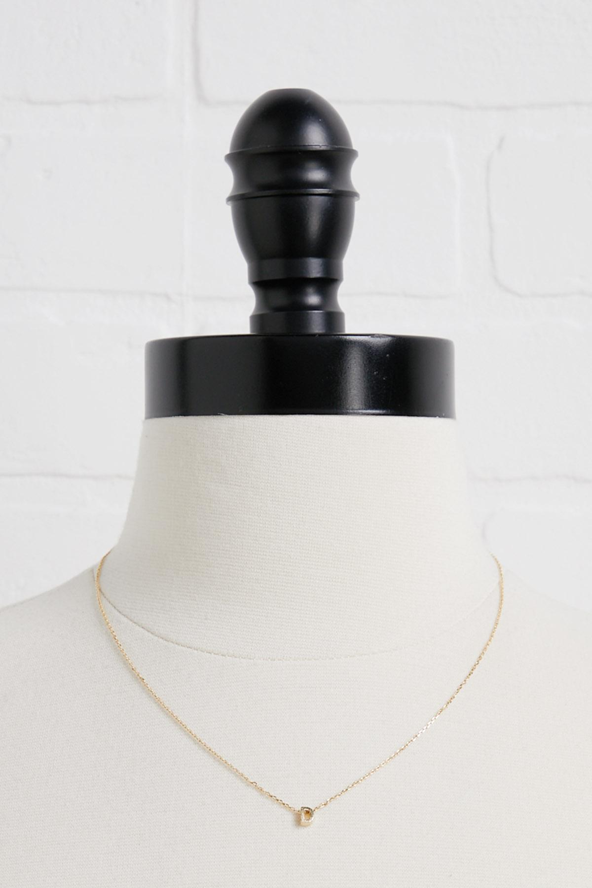 18k Tiny D Initial Necklace