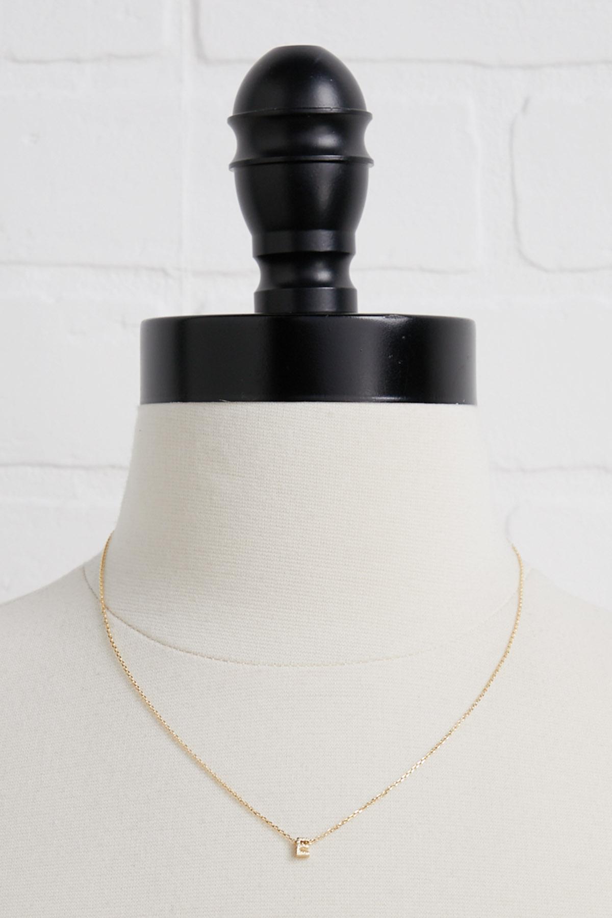 18k Tiny E Necklace