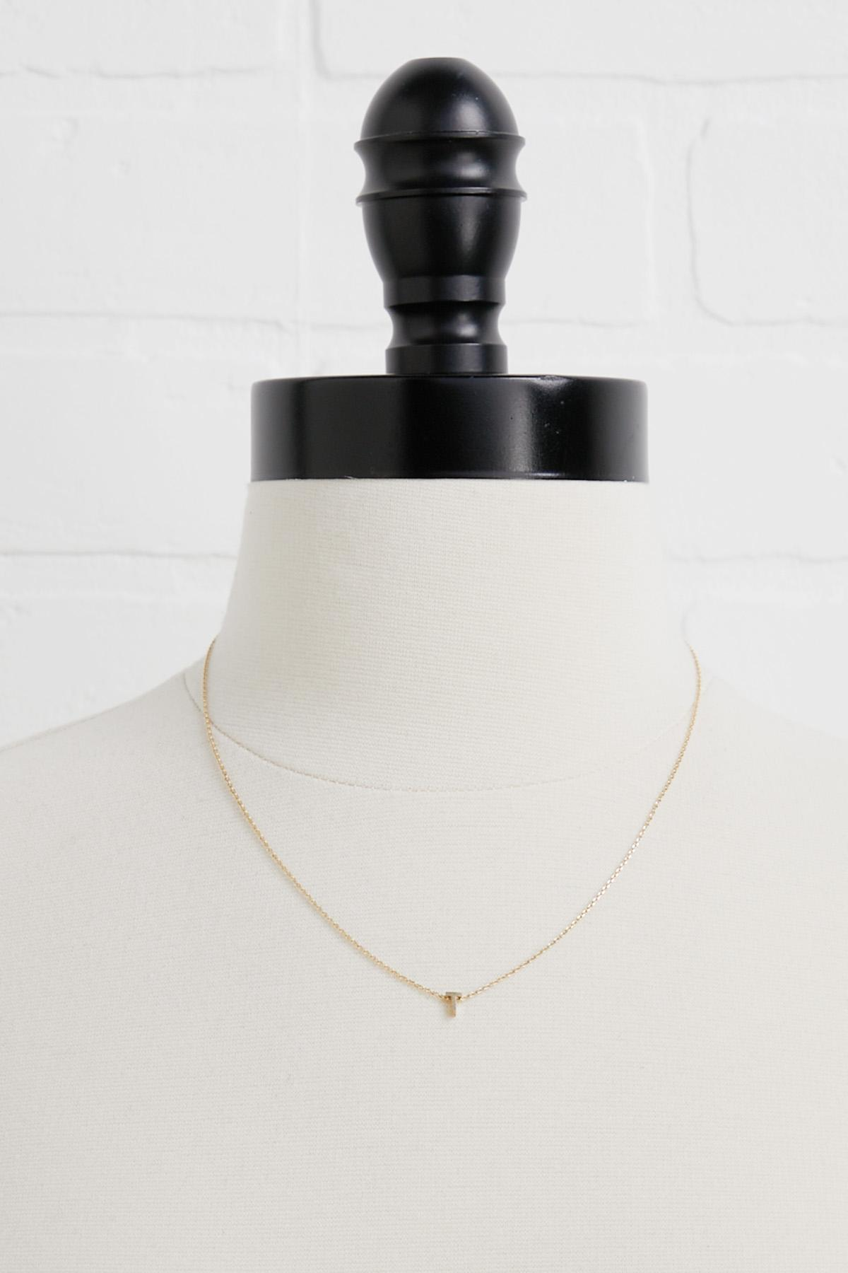 18k Tiny T Initial Necklace