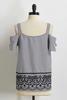 Stripe Embroidered Bare Shoulder Top
