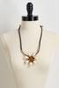 Tortoise Shell Flower Pendant Necklace