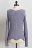Blue Scalloped Chenille Sweater