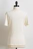 Ivory Ribbed Tie Front Top