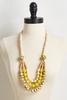 Golden Wooden Bead Necklace