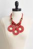 Beaded Raffia Circle Necklace