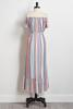 Striped High- Low Maxi Dress