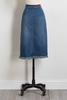 Denim Frayed Hem Midi Skirt