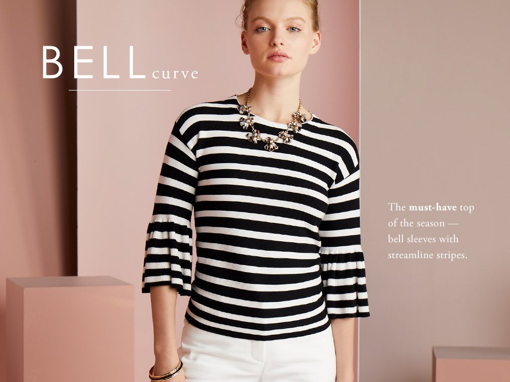 Bell Curve - The must-have top of the season - bell sleeves with stramline stripes.