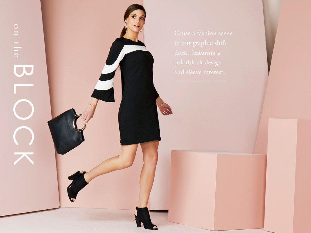 On The Block - Casue a fashion scene in our graphic shift dress, featuring a colorblock design and sleeve interest.