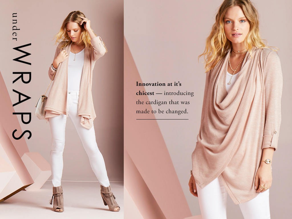 Innovation at it's chicest. Introducing the cardigan that was made to be changed.