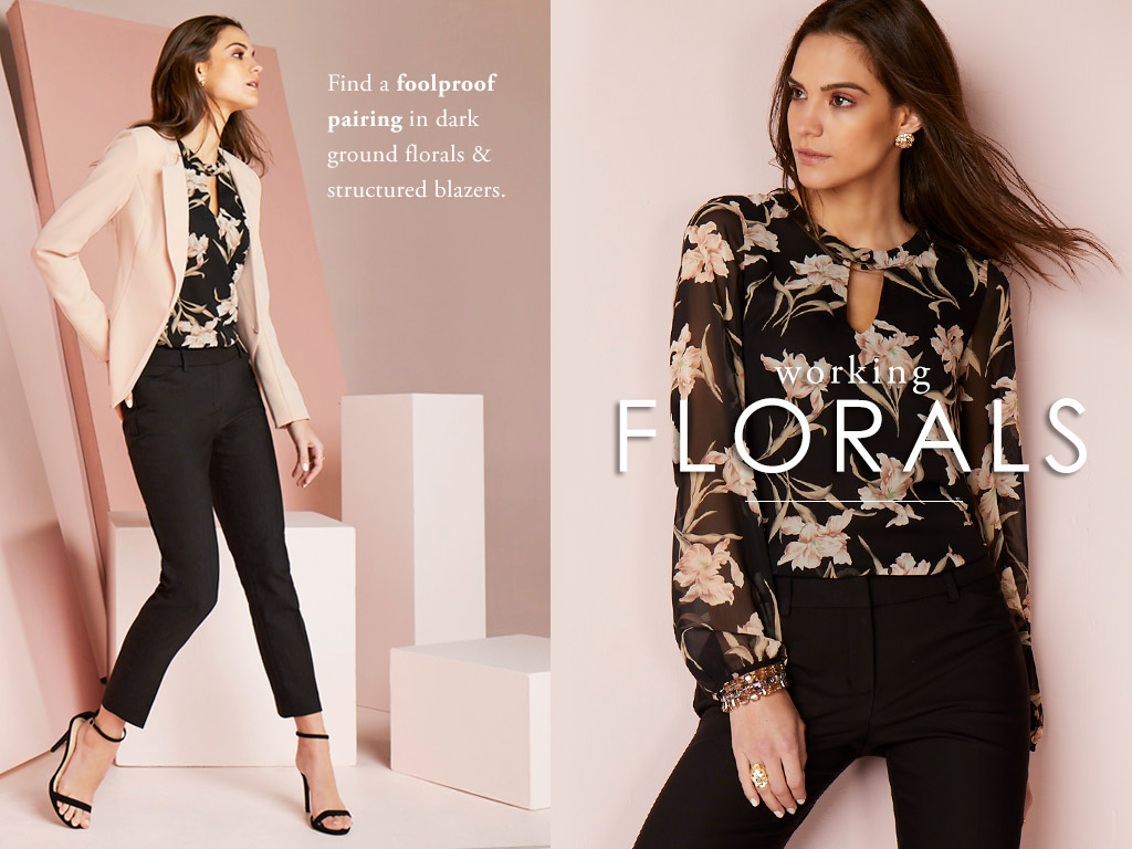 Working Florals - Find a foolproof pairing in dark ground florals and structured blazers.