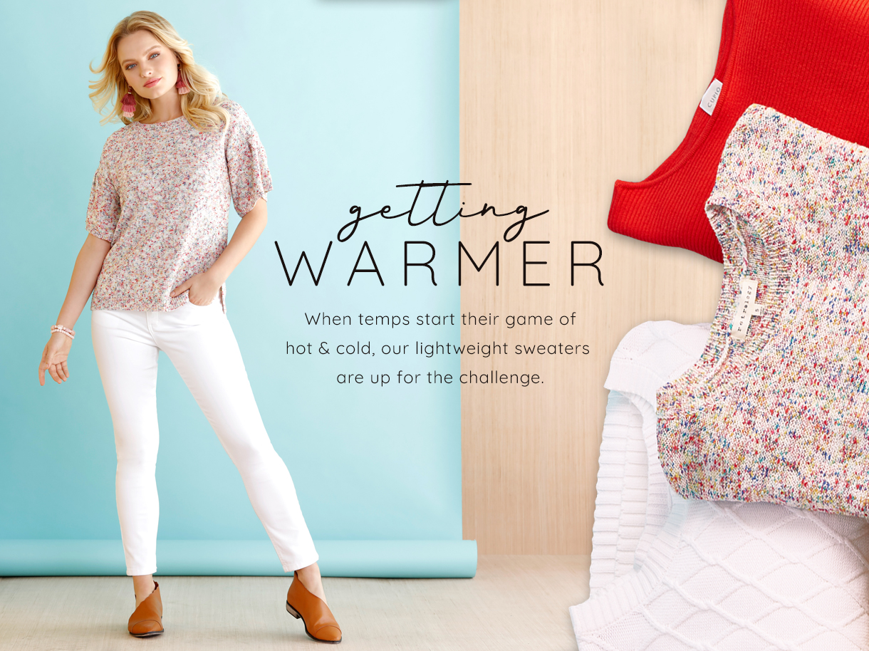 When temps start their game of hot and cold, our lightweight sweaters are up for the challenge.