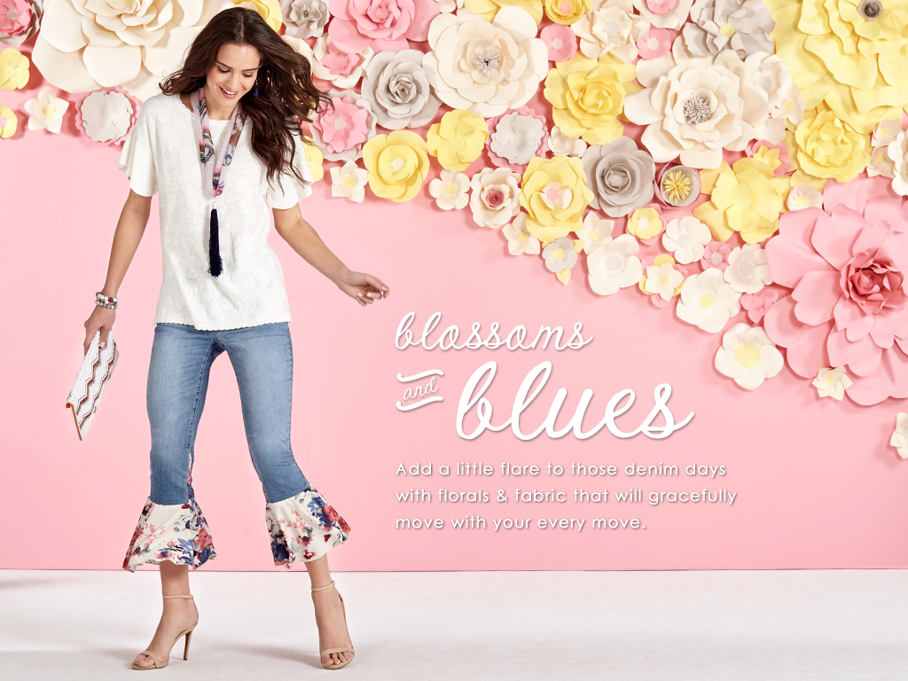 Add a little flare to those denim days with florals and fabric that will gracefully move with your every move.