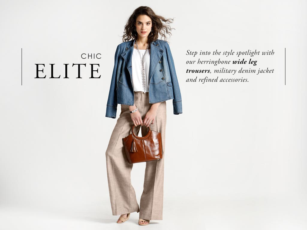 Step into the style spotlight with our herringbone wide leg trousers, military denim jacket and refined accessories.