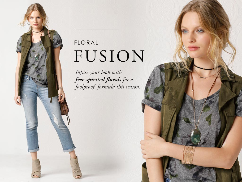 Infuse your look with free-spirited florals for a foolproof formula this season.