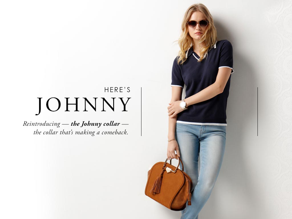Reintroducing the Johnny collar sweater. The collar that makes a comeback.