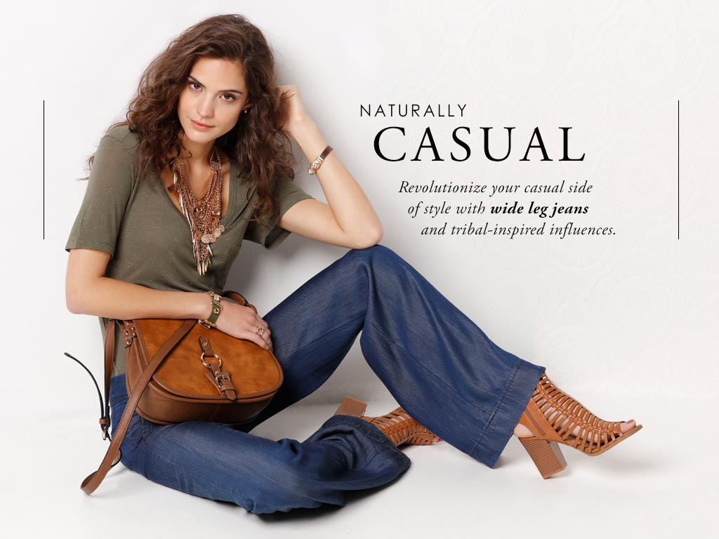Revolutionize your casual side of style with wide leg jeans and tribal-inspired influences.