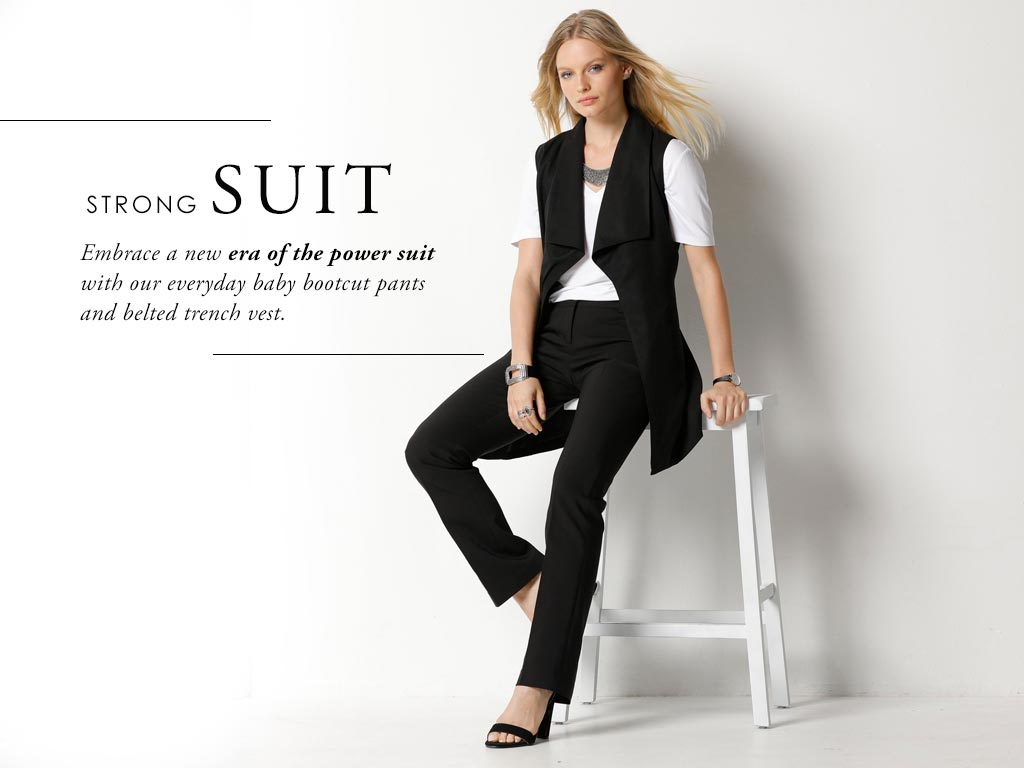 Embrace a new era of the power suit with our everyday baby bootcut pants and belted trench vest.