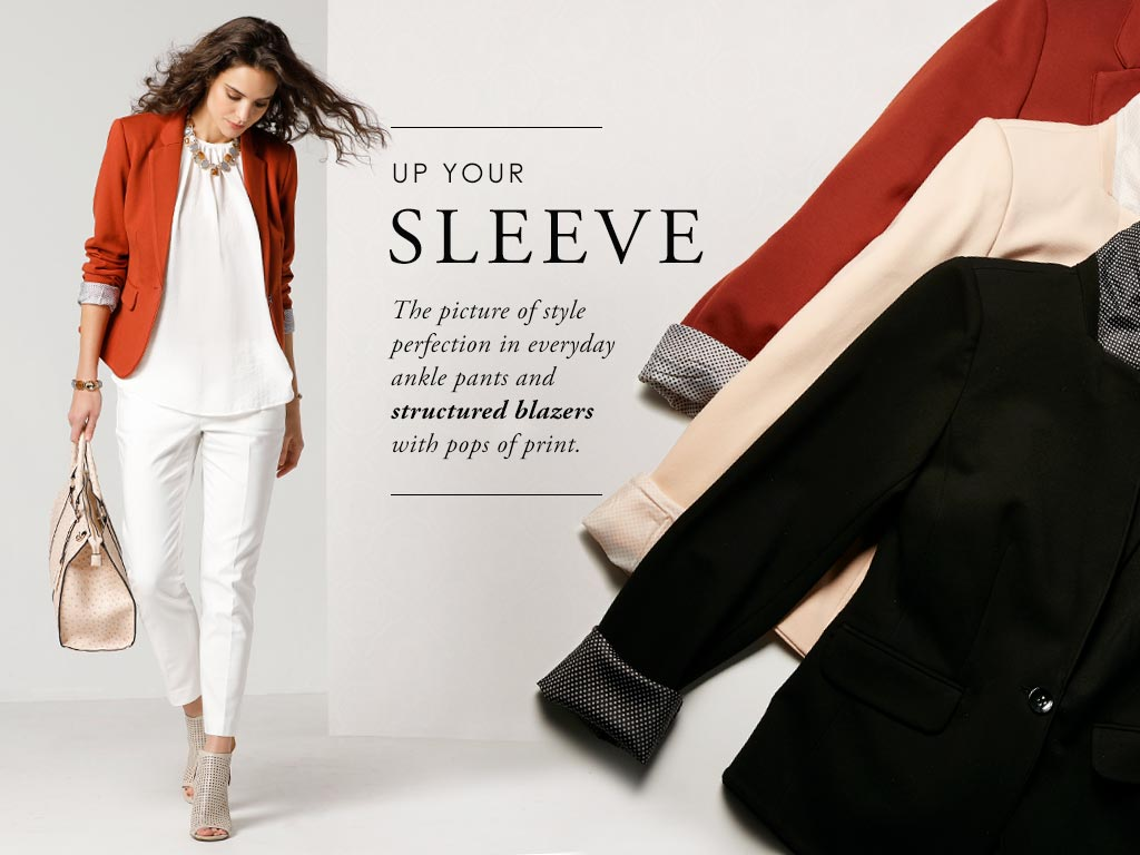 The picture of style perfection in everyday ankle pants and structured blazers with pops of print.