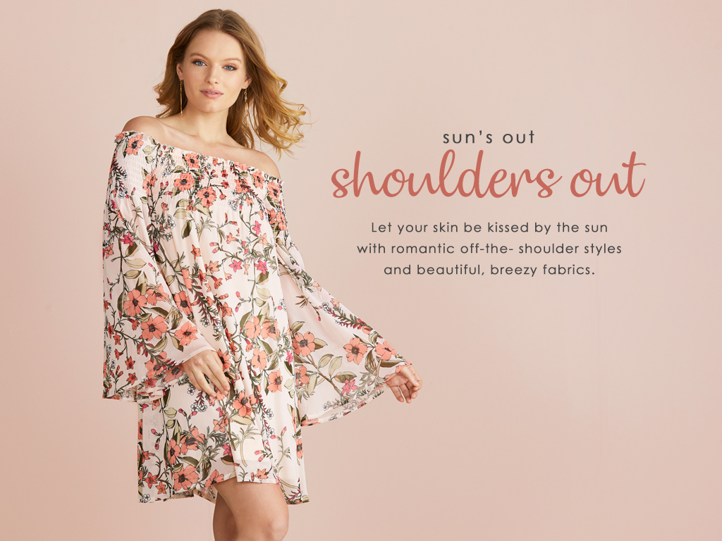 Let your skin be kissed by the sun with romantic off the shoulder styles and beautiful, breezy fabrics.