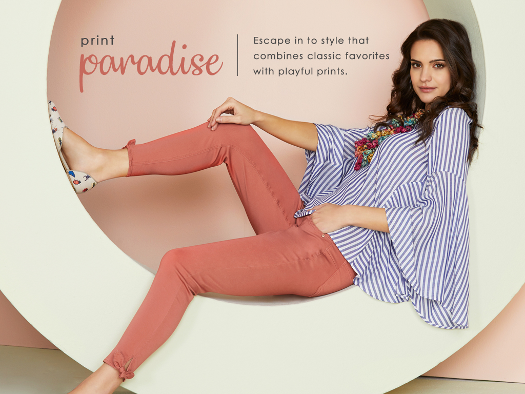 Escape into style that combines classic favories with playful prints.