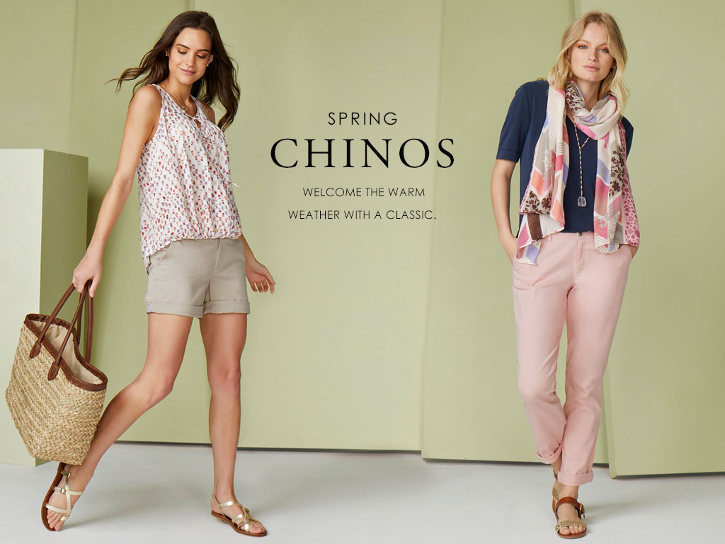 Spring Chinos- welcome the warm weather with a classic.