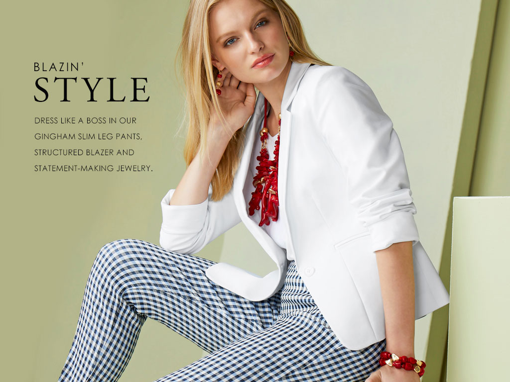 Essential Blazer- dres like a boss in our gingham slim leg pants, structured blazer and statement-making jewelry.