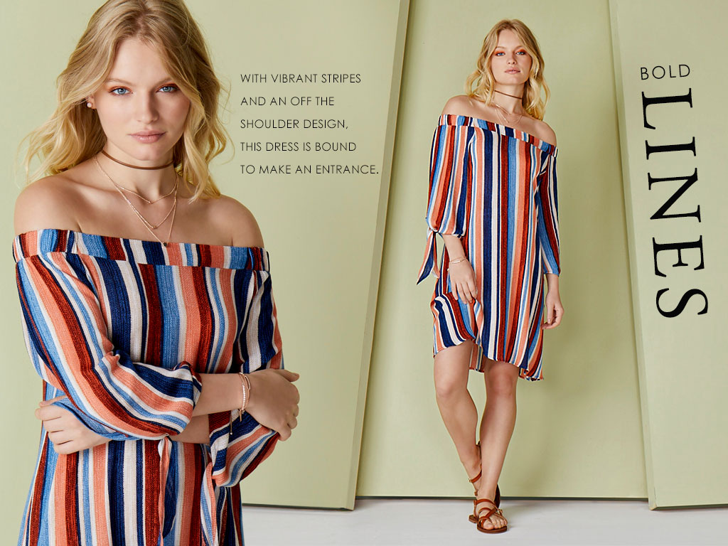 Bold Stripes- with vibrant stripes and an off the shoulder design, this dress is bound to make an entrance.