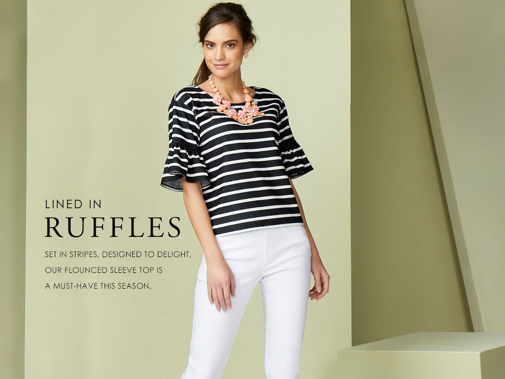 Lined in Ruffles- Set in stripes, designed to delight, our flounced sleeve top is a must-have this season.