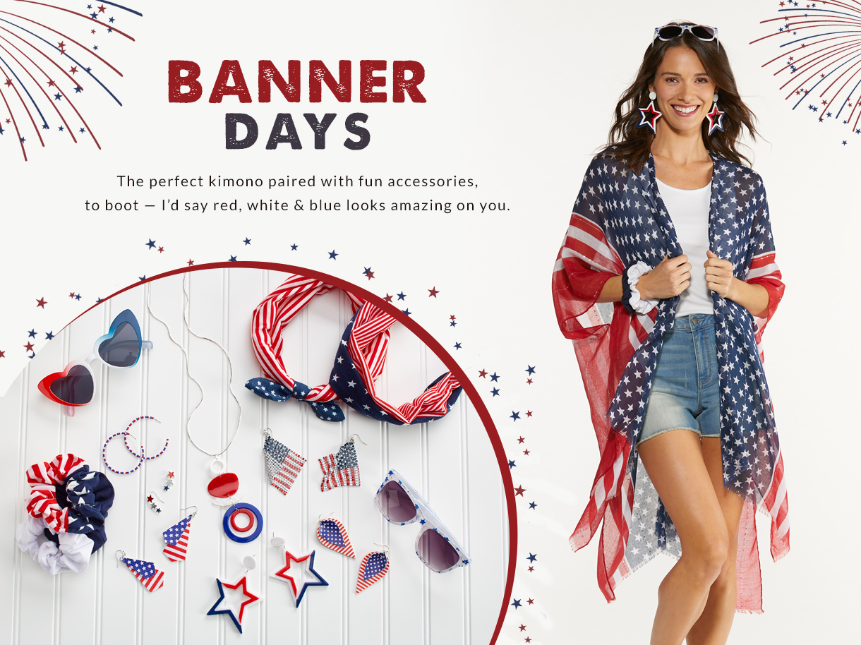 The perfect kimono paired with fun accessories, to boot - I'd say red, white and blue looks amazing on you.