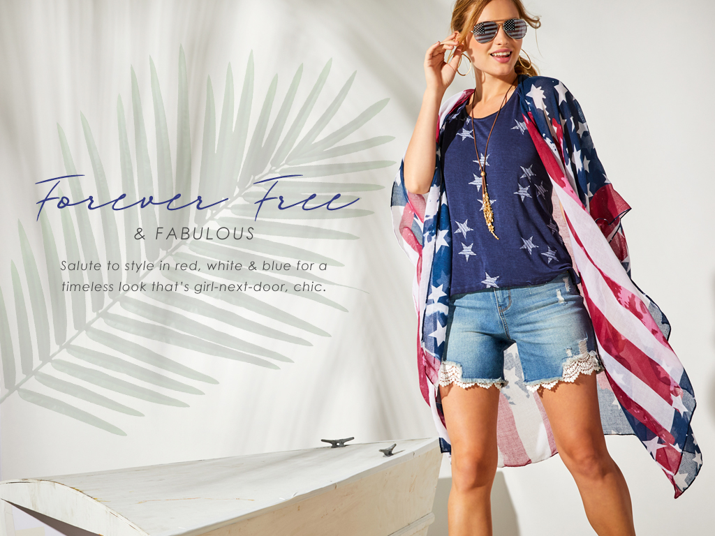 Forever Free and Fabulous - Salute to style in red, white and blue for a timeless look that's girl-next-door, chic.