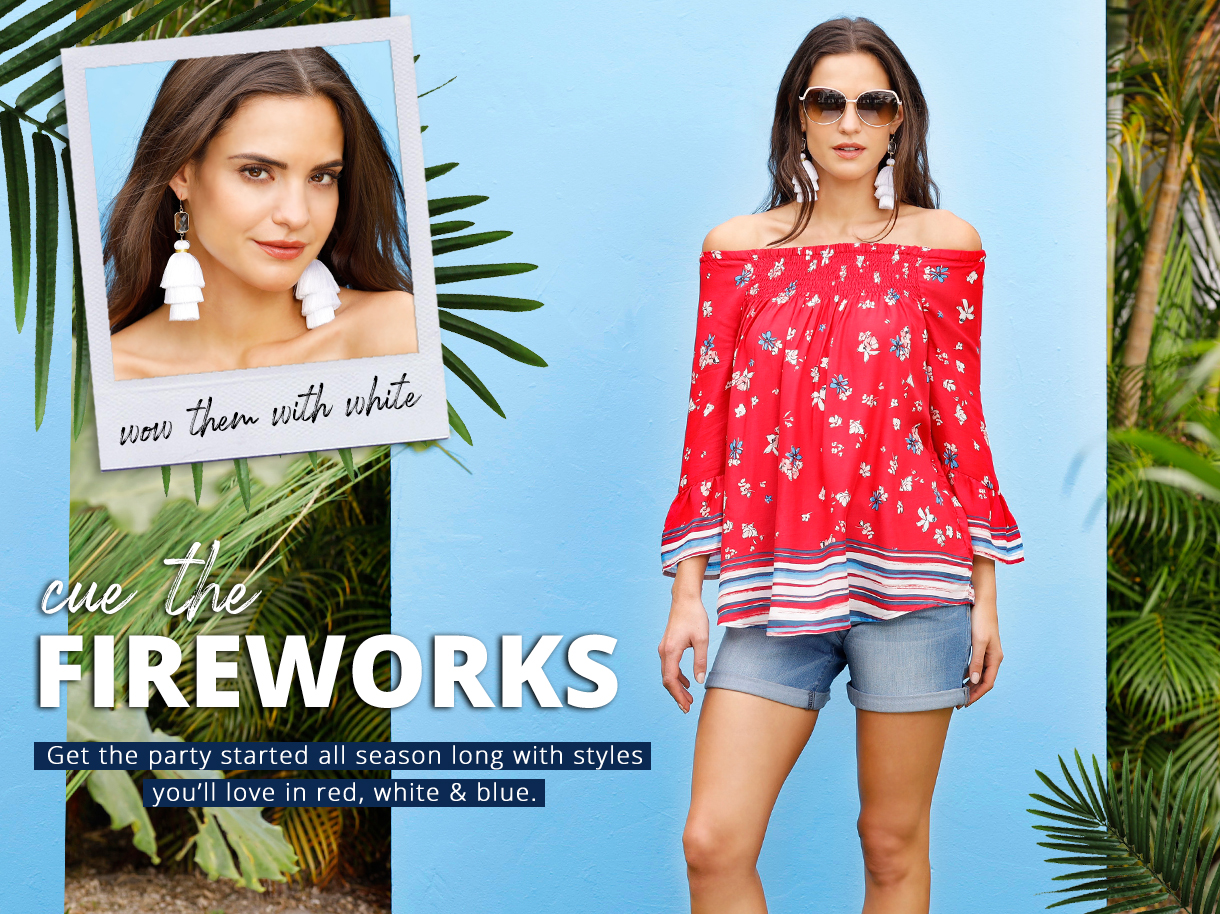 Get the party started all season long with styles you'll love in red, white and blue.
