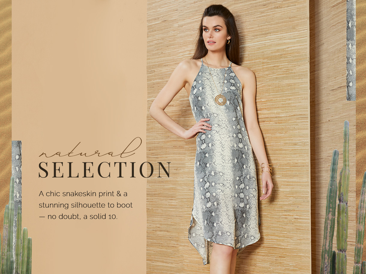 A chic snakeskin print and a stunning silhouette to boot. No doubt, a solid 10.