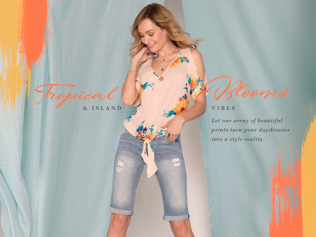 Tropical blooms and island vibes. Let our array of beautiful prints turn your daydreams into a style reality.