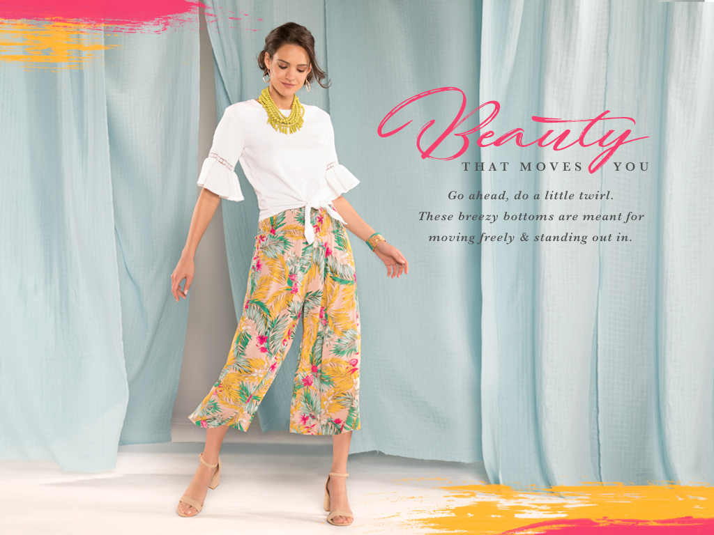 Beauty that moves you. Go ahead, do a little twirl. These breezy bottoms are meant for moving freely and standing out in.