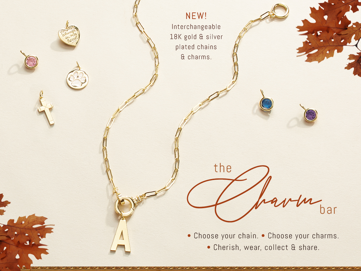 New. Interchangeable 18k gold and silver plated chains and charms. Choose your chain. Choose you charms. Cherishm, wear, collect and share.
