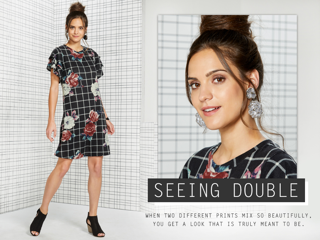 Seeing Double. When two different prints mix so beautifully, you get a look that is truly meant to be.