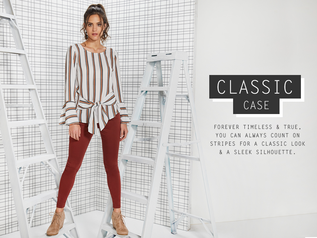 Forever timeless and true, you can always count on stripes for a classic look and a sleek silouette.