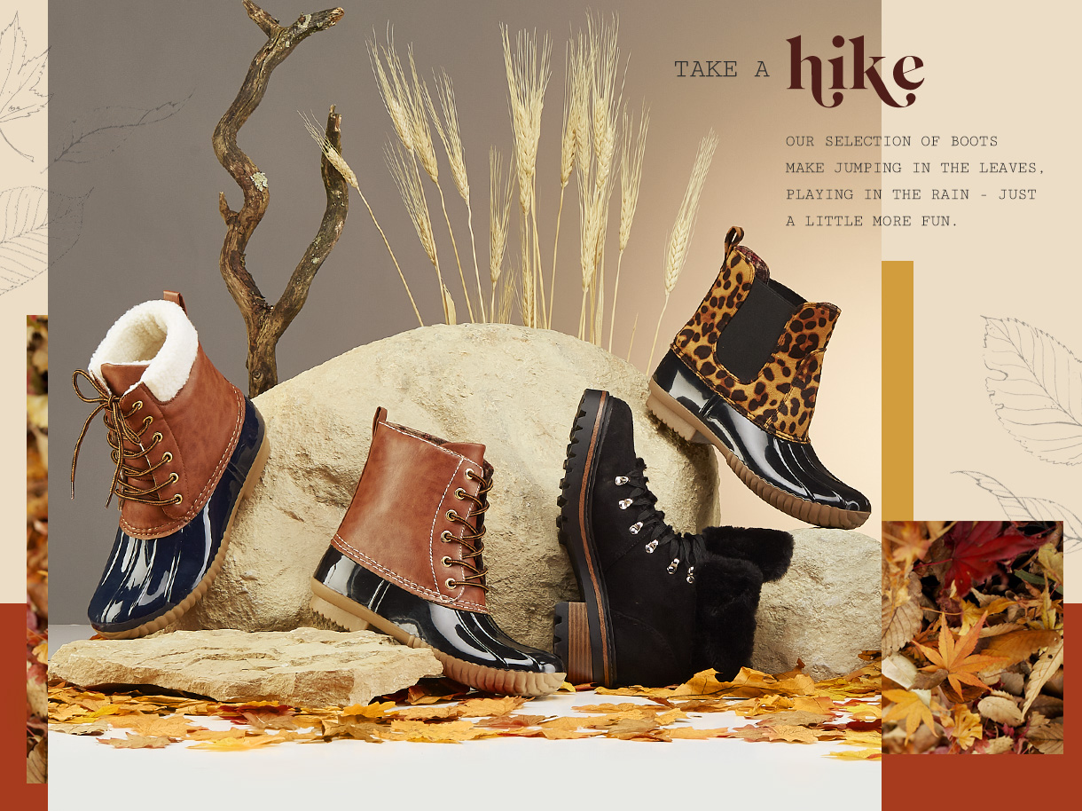 Our selection of boots make jumping in the leaves, playing in the rain - just a little more fun.