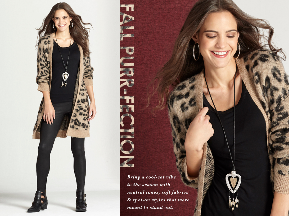 Bring a cool cat vibe to your look in this fuzzy knit leopard print duster cardigan paired with all black tank, leggings and booties. A fall purr-fetion outfit.