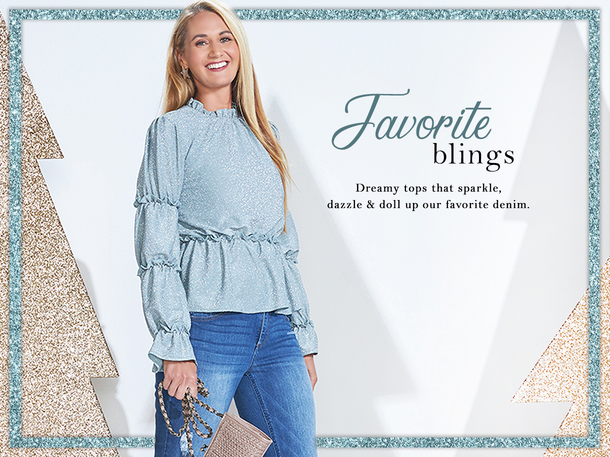 Dreamy tops that sparkle, dazzle and doll up our favorite denim.