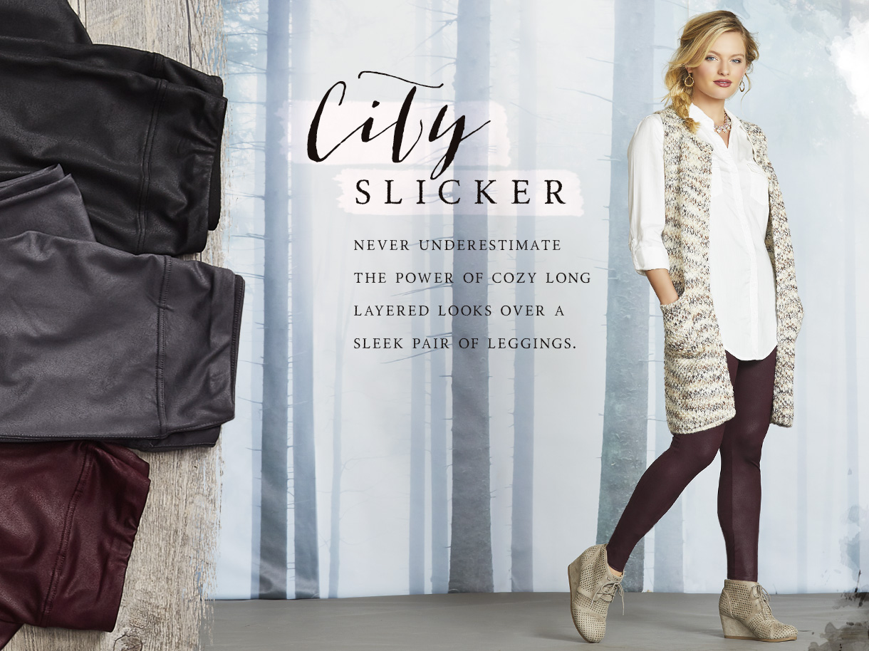 City Slicker - Never underestimate the power of cozy long layered looks over a sleek pair of leggings.